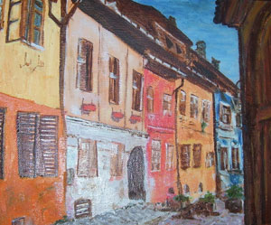 Street in Transylvania oil on canvas by Oana Dell