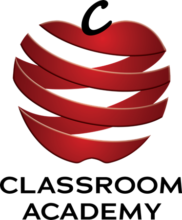 Classroom Academy Logo in the shape of an apple with red bands around it