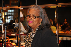SUNY Trustee Eunice Lewin at addresses the college community at the 2012 Student Academic Conference Student Art Competition.