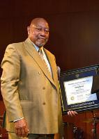Kenny Barron '78 recieves the Recognition of Honorary Degree, as Doctor of Music, presented by Hugh Hammett, the college's vice president for external affairs.