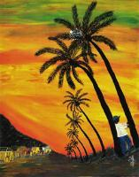 """Between the Palms"" by Metropolitan Center student Daisy Ferrer. As a Dominican immigrant celebrating her heritage, Ferrer's colorful landscape paintings, streets and traditional vendors depict a blend of Spanish, African and Native Tainos. (Image provided by the artist)"