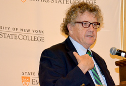 "Ed Murphy, executive director of the Workforce Development Institute, talked about ""Sandy Stories, Organized Labor Rebuilds New York"" at the 2013 Student Academic Conference. (Photo/Empire State College)"