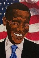 "Student JahLib's mixed media portrait, ""President Barak Obama,"" speaks of dreams and opportunities. Image supplied by the artist."