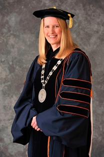 SUNY Empire State College President Merodie A. Hancock wearing her academic regalia and the official college medallion.