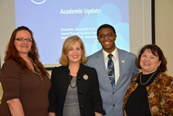 SUNY Empire State College student and SUNYSA representative Lori Mould, left, joined SUNY Interim Provost Beth Bringsjord, SUNYSA President Tremayne Price and Pat Myers, director of collegewide student services, at the September 2013 SUNYSA meeting hosted by the college. Photo/Empire State College