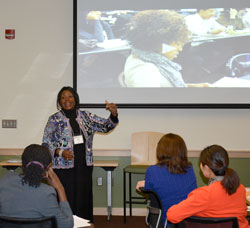 "Rabi Ann Musah, principle investigator and director of the Center for Achievement, Retention and Student Success and associate professor in the University at Albany Department of Chemistry,  presents, ""What has been done that supports success,"" at the conference."