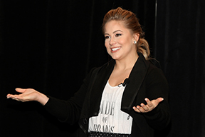 Shawn Johnson, a member of the winning 2008 U.S. women's senior gymnastics team, brought a message of perseverance and trusting one's heart to the 2015 Student Wellness Retreat in Albany earlier this month.