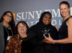 Left to right: Sandra Barkevich, Pat Myers, Layla Abdullah-Poulos and President Merodie Hancock