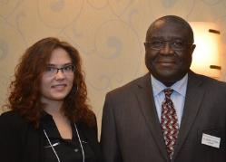 International student Kristina Borovkova and college Provost Alfred Ntoko at the 2015 Student Academic Conference.