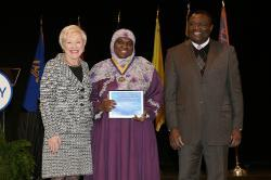 Chancellor Nancy Zimpher, at left, with graduate student Layla Abdullah-Poulos '10, a 2016 Chancellor's Award for Student Excellence recipient, and SUNY Empire State College Provost Alfred Ntoko at the presentation ceremony, which was held in Albany. Photo/SUNY