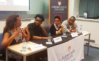 "Panelists and artists, left to right, Juwana Jenkins, Bendjhi Villiers, Tonya Graves and Johnny Youngblood at the Black History Month celebration in Prague, the Czech Republic. The event, ""Black Music 101,"" was presented by the U.S. Embassy's American Center, in cooperation with the college."