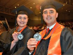 Student speakers Christina Gugliero and Michael Contario at the 2017 commencement event on Long Island