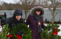 SUNY Empire State College Assistant Registrar Vanessa Redfield, at left, and Susan Bruce, the college's veteran and military services coordinator, volunteered to lay wreaths on the graves of veterans as part of Wreaths Across America.