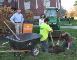Operations Director Rick Reimann, standing at left, and Sadie Ross, director of environmental sustainability, look on as employees of Grasshopper Gardens, Inc. plant a white oak on the lawn of 2 Union Ave., as part of the college's donation to Sustainable Saratoga's centennial trees program.